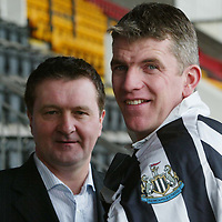 St Johnstone captain Jim Weir pictured with Hugh Taylor vice-chairman of the Jim Weir testimonial committee after announcing that Newcastle will be the opponents in Jim's testimonial game on May 11th.<br />see story by Gordon Bannerman Tel: 01738 553978 or 07729 865788<br />Picture by Graeme Hart.<br />Copyright Perthshire Picture Agency<br />Tel: 01738 623350  Mobile: 07990 594431