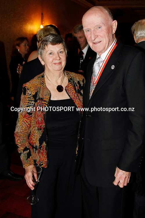 Sir Murray Halberg and wife Phyllis, pose for a picture at the 3 Knights Gala Dinner at the Civic Theatre, Auckland, New Zealand, Thursday, August 20, 2009.