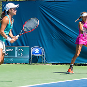 August 23, 2016, New Haven, Connecticut: <br /> Danielle Lao and Jacqueline Cako in action during the US Open National Playoffs women's doubles finals on Day 5 of the 2016 Connecticut Open at the Yale University Tennis Center on Tuesday, August  23, 2016 in New Haven, Connecticut. <br /> (Photo by Billie Weiss/Connecticut Open)