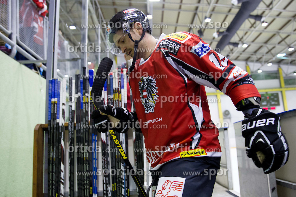 Manuel Latusa #15 of Austria  after the Friendly Ice-hockey match between National teams of Slovenia and Austria on April 19, 2013 in Ice Arena Tabor, Maribor, Slovenia.  Slovenia defeated Austria 5-2. (Photo By Vid Ponikvar / Sportida)