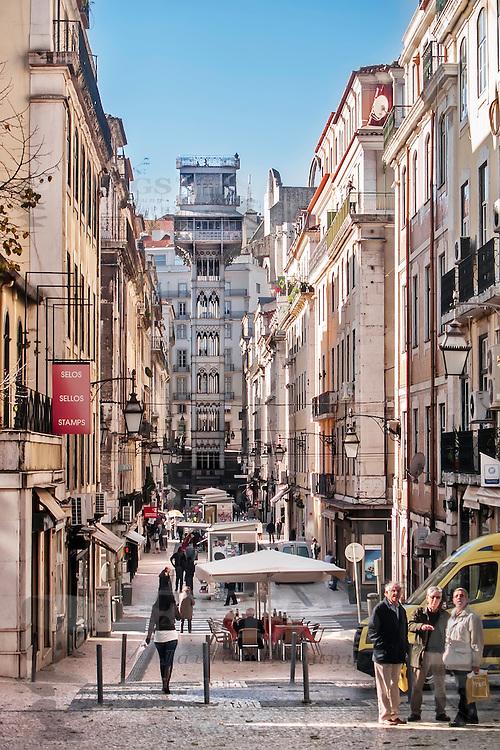 Lisbon, November 2012. Santa Justa elevator (Raoul Mesnard, 1902) at Baixa district, to go up to Bairro Alto district.