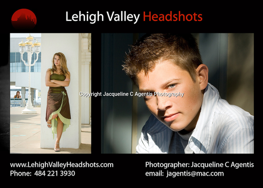 Lehigh Valley Headshots Front Page design. Actor/Model Photography by Lehigh Valley Photographer Jacqueline C Agentis covering locations in Pennsylvania, New York, Florida, Kentucky, Colorado