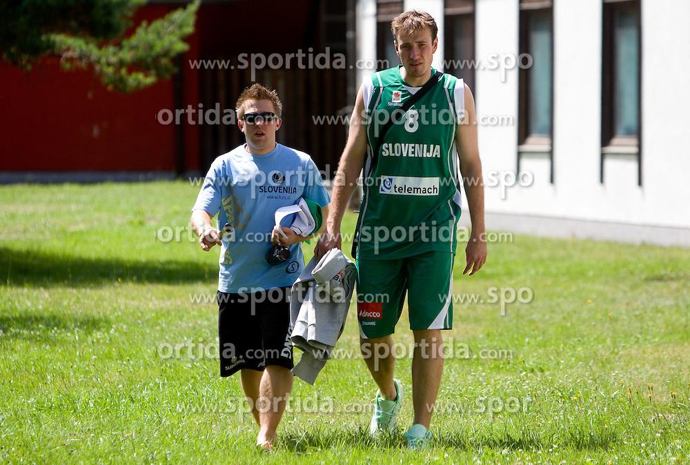 Anze Blazic and Matjaz Smodis prior to the filming of video for Eurobasket Lithuania 2011 of Slovenian National Basketball team during training camp in Kranjska Gora, on July 12, 2011, in Kranjska Gora, Slovenia. (Photo by Vid Ponikvar / Sportida)