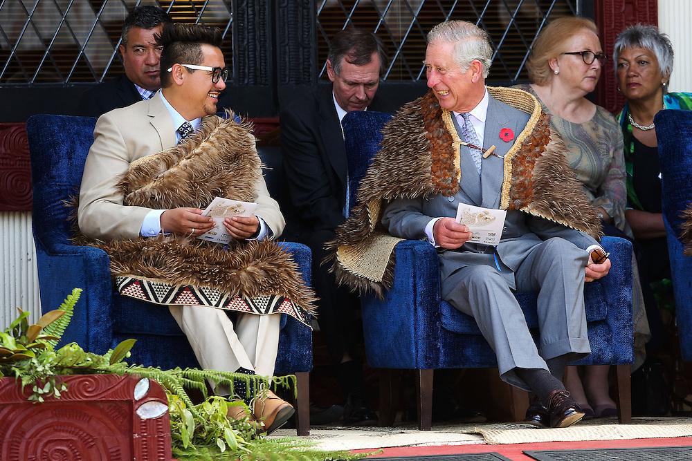 Prince Charles, Prince of Wales and Te Ariki Tamaroa Whatumoana Te Aa enjoy a laugh during a visit to Turangawaewae Marae, Hamilton, New Zealand, New Zealand, Sunday, November 08, 2015. Credit:SNPA / Hagen Hopkins  **POOL**