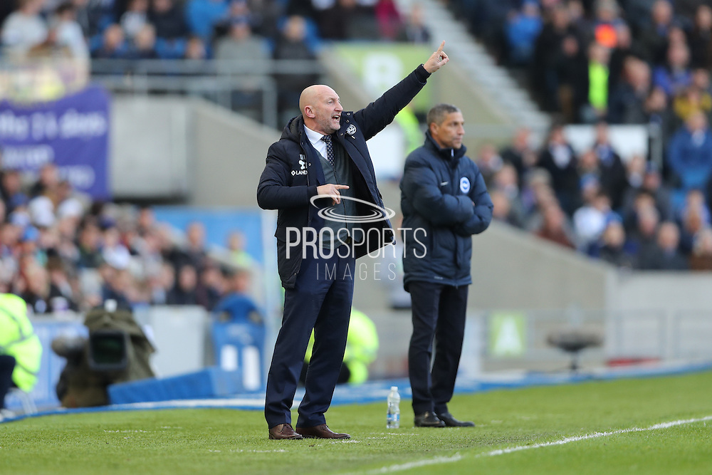 Queens Park Rangers manager Ian Holloway and Brighton Manager, Chris Hughton during the EFL Sky Bet Championship match between Brighton and Hove Albion and Queens Park Rangers at the American Express Community Stadium, Brighton and Hove, England on 27 December 2016.