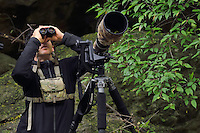 Wildlife photographer Jed Weingarten in action, Tangjiahe National Nature Reserve, NNR, Qingchuan County, Sichuan province, China