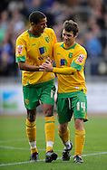 Carlisle - Saturday October 10th, 2009: Tom Adeyemi (L) of Norwich City celebrates with matchwinner Wes Hoolahan at the final whistle during the Coca Cola League One match at Brunton Park, Carlisle. (Pic by Jed Wee/Focus Images)