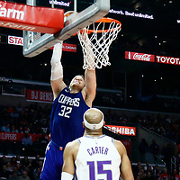 13 January 2018: LA Clippers forward Blake Griffin (32) goes for the dunk during the LA Clippers 126-105 victory over the Sacramento Kings, at the Staples Center, Los Angeles, California, USA.