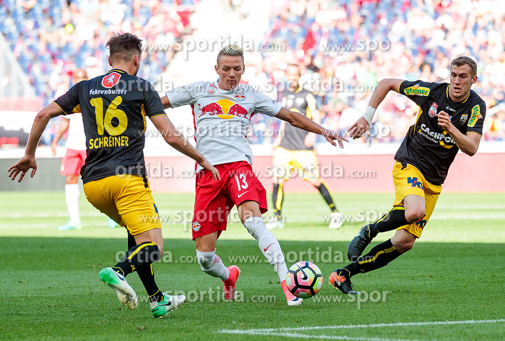 28.05.2017, Red Bull Arena, Salzburg, AUT, 1. FBL, FC Red Bull Salzburg vs Cashpoint SCR Altach, 36. Runde, im Bild Emanuel Schreiner (Altach), Hannes Wolf (FC Red Bull Salzburg), Lukas Jaeger (Altach) // during Austrian Football Bundesliga 36th round Match between FC Red Bull Salzburg and Cashpoint SCR Altach at the Red Bull Arena, Salzburg, Austria on 2017/05/28. EXPA Pictures © 2017, PhotoCredit: EXPA/ JFK