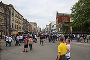 St Mary Street with fans and crowds before the Champions League Final between Juventus and Real Madrid at the National Stadium of Wales, Cardiff, Wales on 3 June 2017. Photo by Phil Duncan.