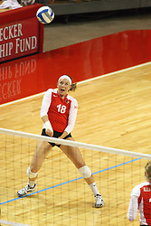 22 September 2012:  Kaitlyn Early takes a breathe while watching the ball after a low standing dig during an NCAA womens volleyball match between the Bradley Braves and the Illinois State Redbirds at Redbird Arena in Normal IL