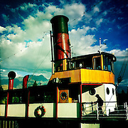 The TSS Earnslaw, the 100 year old vintage coal fired passenger steam ship which sails on Lake Wakatipu, Queenstown, New Zealand. The popular tourist attraction is celebrating it's centenary year with celebrations planned for October 2012.  Queenstown, Central Otago, New Zealand. 29th February 2012. Photo Tim Clayton