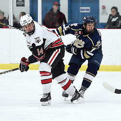 GEORGETOWN, ON  - APR 8,  2018: Ontario Junior Hockey League, South West Conference Championship Series. Game six of the best of seven series between Toronto Patriots and the Georgetown Raiders. Zack Dybowski #14 of the Georgetown Raiders and Kyler Matthews #10 of the Toronto Patriots follow the play during the third period.<br /> (Photo by Andy Corneau / OJHL Images)