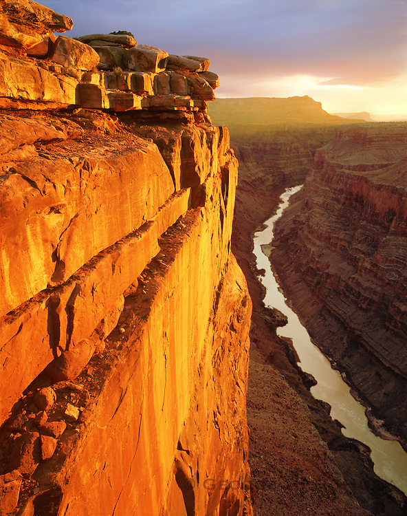0107-1114LVT ~ Copyright: George H. H. Huey ~ The Colorado River, 3,000 feet below, seen from the Toroweep Overlook, at sunrise. Grand Canyon National Park, Arizona.
