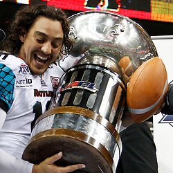August 10, 2012; New Orleans, LA, USA; Arizona Rattlers quarterback Nick Davila (10) holds up the AFL championship trophy following a win over the Philadelphia Soul in ArenaBowl XXV at the New Orleans Arena. The Arizona Rattlers defeated the Philadelphia Soul 72-54. Mandatory Credit: Derick E. Hingle-US PRESSWIRE