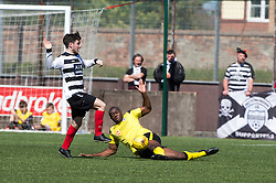 East Stirling's Max Wright and Edinburgh City's Joseph Mbu. East Stirling v Edinburgh City, League play-off game.