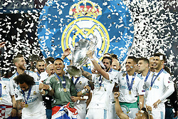 (L-R) Sergio Ramos of Real Madrid, Marcelo of Real Madrid, Karim Benzema of Real Madrid, goalkeeper Keylor Navas of Real Madrid, Isco of Real Madrid with UEFA Champions League trophy, Coupe des clubs Champions Europeens, Dani Ceballos of Real Madrid, Marco Asensio of Real Madrid during the UEFA Champions League final between Real Madrid and Liverpool on May 26, 2018 at NSC Olimpiyskiy Stadium in Kyiv, Ukraine