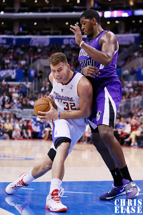 25 October 2013: Los Angeles Clippers power forward Blake Griffin (32) drives past Sacramento Kings power forward Jason Thompson (34) during the Sacramento Kings 110-100 victory over the Los Angeles Clippers at the Staples Center, Los Angeles, California, USA.
