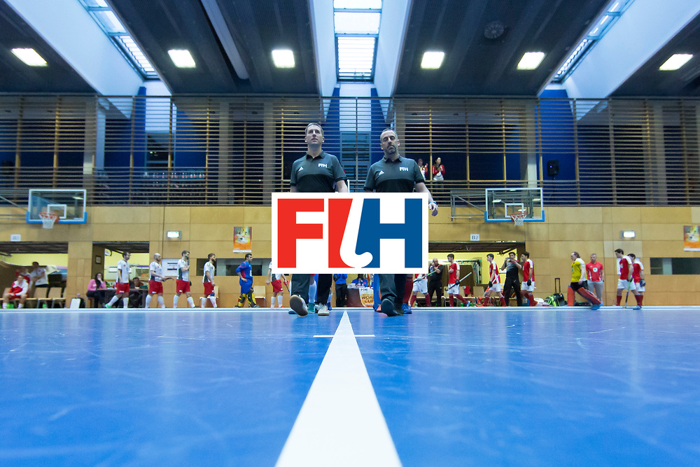 Hockey, Seizoen 2017-2018, 09-02-2018, Berlijn,  Max-Schmelling Halle, WK Zaalhockey 2018 MEN, Austria - Switzerland 2-2, Teams entering the pitch