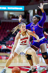 NORMAL, IL - January 05: Lexi Wallen works to get past defender Jada Poland during a college women's basketball game between the ISU Redbirds and the Purple Aces of University of Evansville January 05 2020 at Redbird Arena in Normal, IL. (Photo by Alan Look)