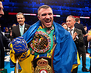 Vasiliy Lomachenko and Luke Campbell, WBC, WBA, WBO and Ring Magazine Lightweight World title fight, O2 Arena.<br /> 31st August 2019<br /> Picture By Mark Robinson