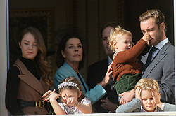 Princess Caroline of Hanover, Princess Alexandra of Hanover, India Casiraghi, Stefano Ercole Casiraghi, Alexandre Andrea Casiraghi, Maximilian Casiraghi, Francesco Casiraghi, Pierre Casiraghi, Tatiana Santo Domingo are attending the military parade held in the Palace Square, during the National Day ceremonies, Monaco Ville (Principality of Monaco), on November 19, 2019. Photo by Marco Piovanotto/ABACAPRESS.COM