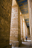 Painted carvings of hieroglyphs and figures at Medinet Habu (Mortuary Temple of Ramses III) aka The Ramesseum.  West Bank Luxor Egypt