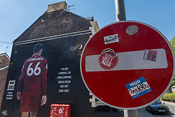 "LIVERPOOL, ENGLAND - Monday, June 1, 2020: Stickers on a ""No Entry"" sign in front of a mural of Liverpool FC player Trent Alexander-Arnold near Anfield. The mural was commissioned by The Anfield Wrap. (Pic by David Rawcliffe/Propaganda)"