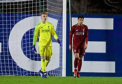 SAINT-GERMAIN-EN-LAYE, FRANCE - Wednesday, November 28, 2018: Liverpool's goalkeeper Vitezslav Jaros looks dejected as Paris Saint-Germain score the second goal during the UEFA Youth League Group C match between Paris Saint-Germain Under-19's and Liverpool FC Under-19's at Stade Georges-Lefèvre. (Pic by David Rawcliffe/Propaganda)