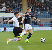 Dundee's Greg Stewart goes past Raith Rovers Ross Perry - Dundee v Raith Rovers, Scottish League Cup at Dens Park<br /> <br />  - &copy; David Young - www.davidyoungphoto.co.uk - email: davidyoungphoto@gmail.com