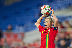 CARDIFF, WALES - Thursday, September 26, 2013: Wales' captain Jessica Fishlock in action against Belarus during the FIFA Women's World Cup Canada 2015 Qualifying Group 6 match at the Cardiff City Stadium. (Pic by David Rawcliffe/Propaganda)