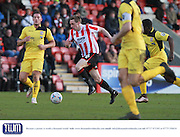 Daniel Parslow during the Vanarama National League match between Cheltenham Town and Bromley at Whaddon Road, Cheltenham, England on 30 January 2016. Photo by Antony Thompson.