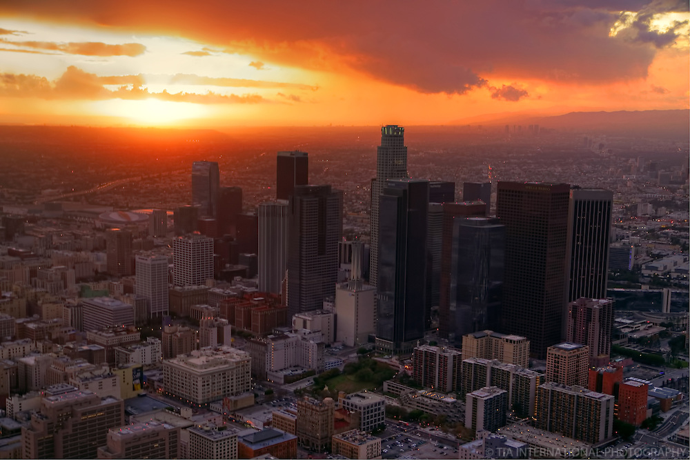 Downtown Los Angeles at Sunset (Aerial)