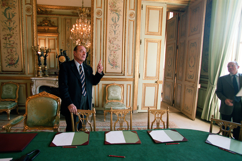 French President Jacques Chirac at the Elysée Palace on the morning after UN weapons inspectors reported to the Security Council and France took a high profile position against military intervention in Iraq..15 February 2003. Paris, France..Photo © J.B. Russell