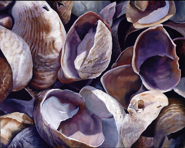 An intense close up view brings an abstract feel to these slipper shells.  Step into this soothing violet world! <br />