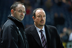 PRESTON, ENGLAND - Saturday, January 3, 2009: Liverpool's manager Rafael Benitez and club's press officer Ian Cotton before the FA Cup 3rd Round match against Preston North End at Deepdale. (Photo by David Rawcliffe/Propaganda)
