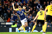 Scotland forward Johnny Russell (22) (Sporting Kansas City) bursts through the Belgium defence during the UEFA European 2020 Qualifier match between Scotland and Belgium at Hampden Park, Glasgow, United Kingdom on 9 September 2019.