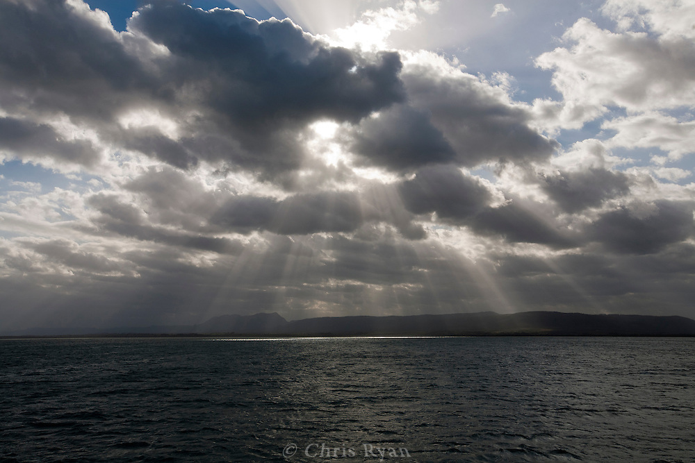 Shafts of sunlight of coast of Pinar del Rio, Cuba