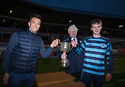 - Monifieth High captain Daniel Garmany  is presented with the cup  by Dundee FC's Cammy Kerr and Dave Forbes of sponsors DFCSS after his side beat Grove Academy in the final of the Senior Schools Cup at Dens Park, Dundee, Photo: David Young<br /> <br />  - &copy; David Young - www.davidyoungphoto.co.uk - email: davidyoungphoto@gmail.com