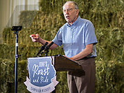 "15 JUNE 2019 - BOONE, IOWA: CHUCK GRASSLEY, Iowa's senior US Senator, speaks on behalf of US Senator Joni Ernst, (R-IA) during ""Joni's Roast and Ride,"" an annual motorcycle ride / barbecue fund raiser hosted by Ernst. Ernst, Iowa's junior US Senator, kicked off her re-election campaign during the ""Roast and Ride"", an annual fund raiser and campaign event has she held since originally being elected to the US Senate in 2014.     PHOTO BY JACK KURTZ"