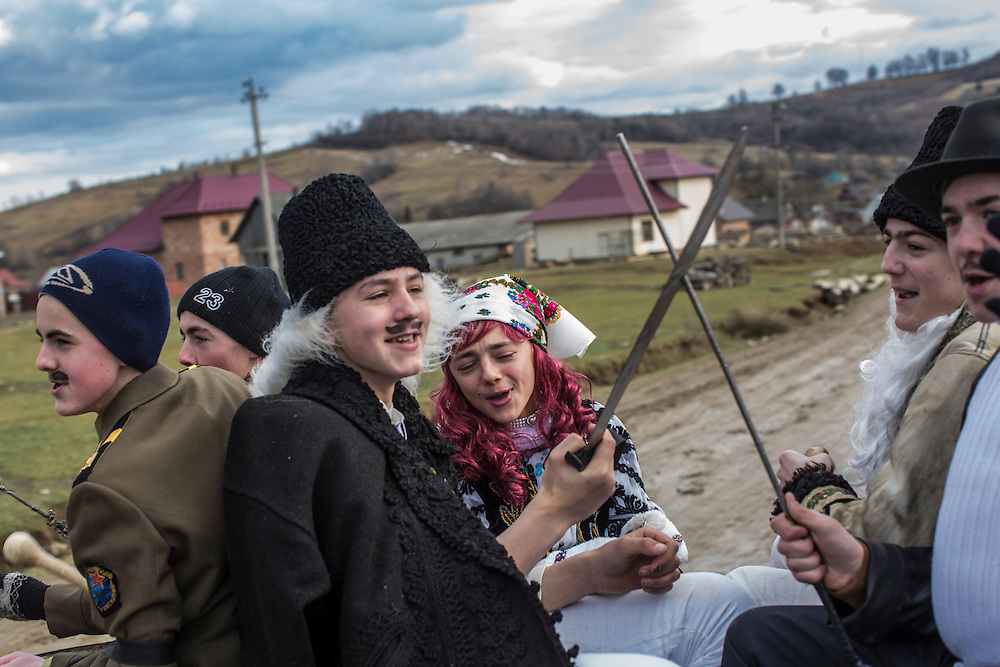 Children wearing the traditional costumes go caroling from house to house for on Wednesday, January 13, 2016 in Krasnoilsk, Ukraine. The festival will begin at sundown and last until the following evening. The tradition, separate from Malanka, coincides with the New Year according to the Orthodox calendar.