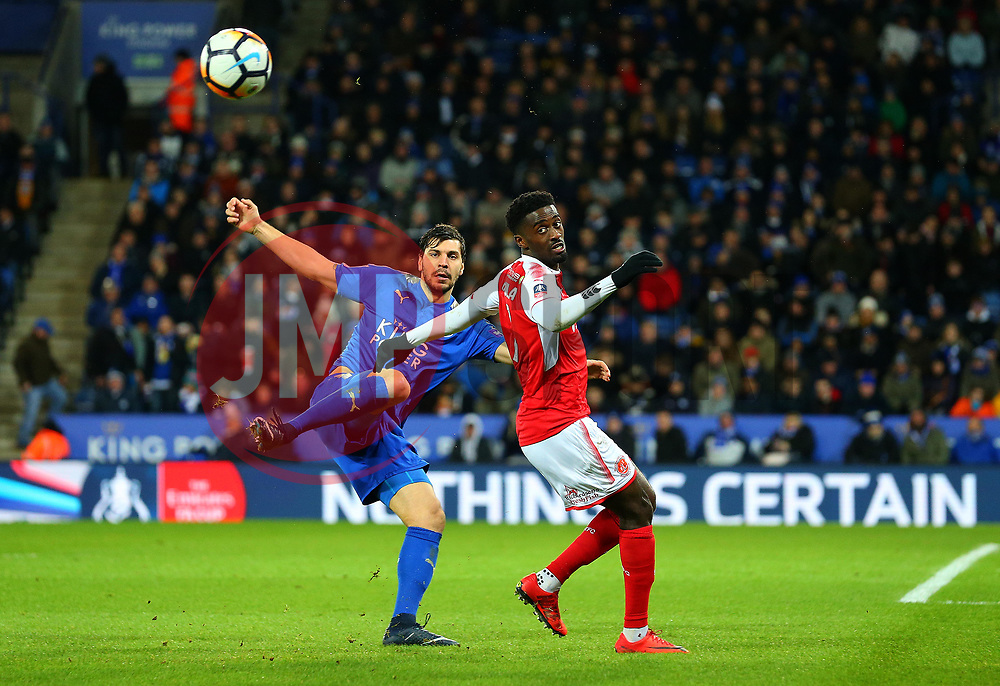 Aleksandar Dragovic of Leicester City clears the ball from Jordy Hiwula of Fleetwood Town - Mandatory by-line: Robbie Stephenson/JMP - 16/01/2018 - FOOTBALL - King Power Stadium - Leicester, England - Leicester City v Fleetwood Town - Emirates FA Cup third round proper