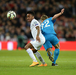 Raheem Sterling of England (Liverpool) controls the ball in the centre of the pitch. - Photo mandatory by-line: Alex James/JMP - Mobile: 07966 386802 - 15/11/2014 - SPORT - Football - London - Wembley - England v Slovenia - EURO 2016 Qualifier