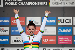 Chloe Dygert (USA) wins UCI Road World Championships 2019 Elite Women's TT a 30.3 km individual time trial from Ripon to Harrogate, United Kingdom on September 24, 2019. Photo by Sean Robinson/velofocus.com