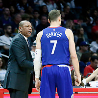 13 January 2018: LA Clippers head coach Doc Rivers talks to LA Clippers forward Sam Dekker (7) during the LA Clippers 126-105 victory over the Sacramento Kings, at the Staples Center, Los Angeles, California, USA.