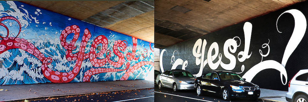 "Two sides of an underpass, each painted with different versions of a ""Yes!"" mural."