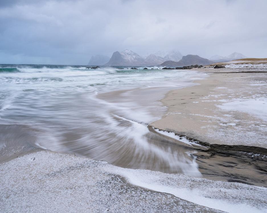 Beach at S Sandnes, Lofoten during storm