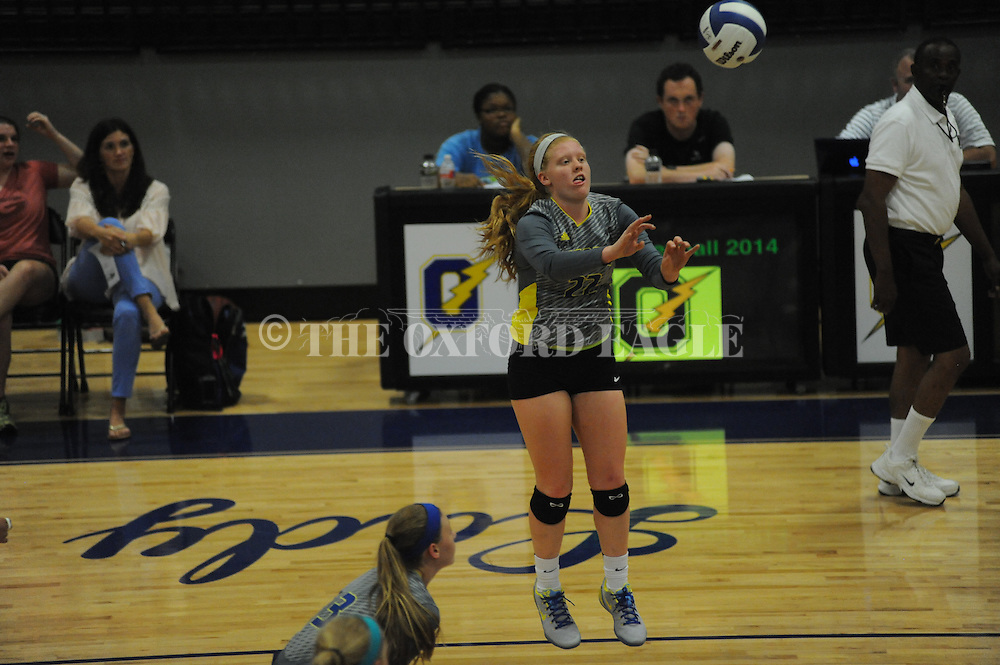 Oxford High's Maggee Hobson (22) vs. Clarksdale in girls high school volleyball action in Oxford, Miss. on Tuesday, September 16, 2014. Oxford won 25-15, 25-7, 25-11.