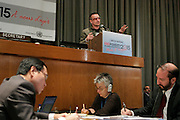 Bono, international social justice activist and lead singer and principal lyricist of the Irish rock band U2, addresses a high-level roundtable discussion on education and health.