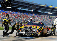 Nov. 7, 2009; Fort Worth, TX, USA; NASCAR Nationwide Series driver Steve Wallace pits after crashing during the O'Reilly Challenge at the Texas Motor Speedway. Mandatory Credit: Jennifer Stewart-US PRESSWIRE